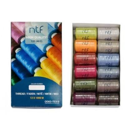 Nit polyesterová universální, mix barev č.4,  balení 12 x 1000m