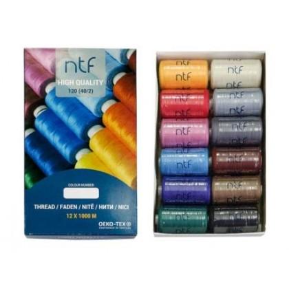 Nit polyesterová universální, mix barev č.7,  balení 12 x 1000m