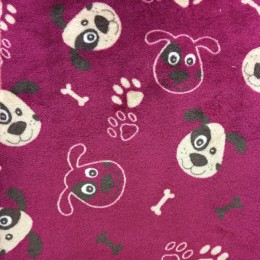 Flannel Fleece potištěný, motiv pes a kost růžový podklad,  látka, metráž