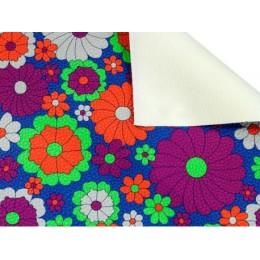 Koženka čalounická barevné květiny, metráž