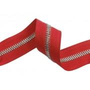 Zip kovový, nekonečný pás 5mm, červený se stříbrnou,  metráž, galanterie