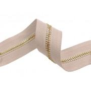 Zip kovový, nekonečný pás 5mm, světle růžový se zlatou,  metráž, galanterie